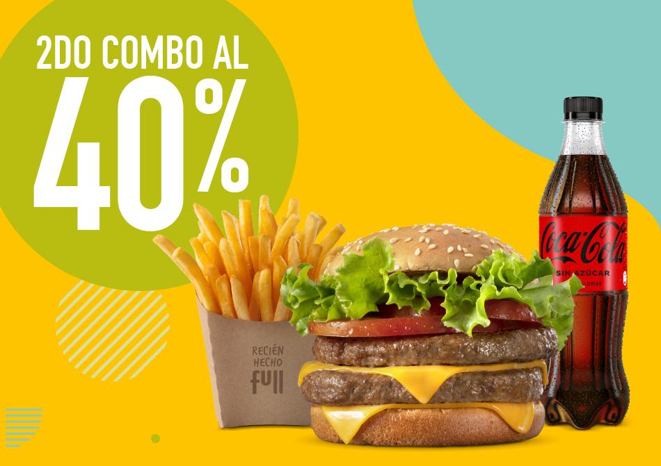 segundo combo al 40%, combo de hamburguesa pasas y gaseosa